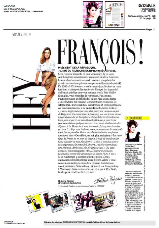Edito Grazia Sandrine Campese 9 mai 2014
