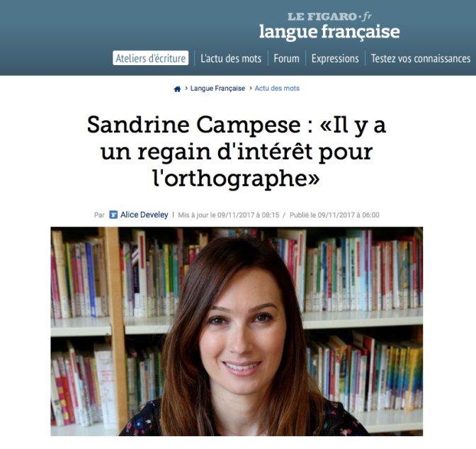 Le Figaro langue française interview Sandrine Campese