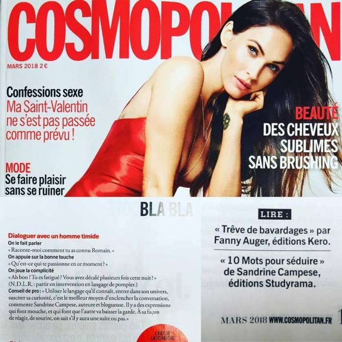 Magazine Cosmopolitan mars 2018 Sandrine Campese 10 mots pour séduire
