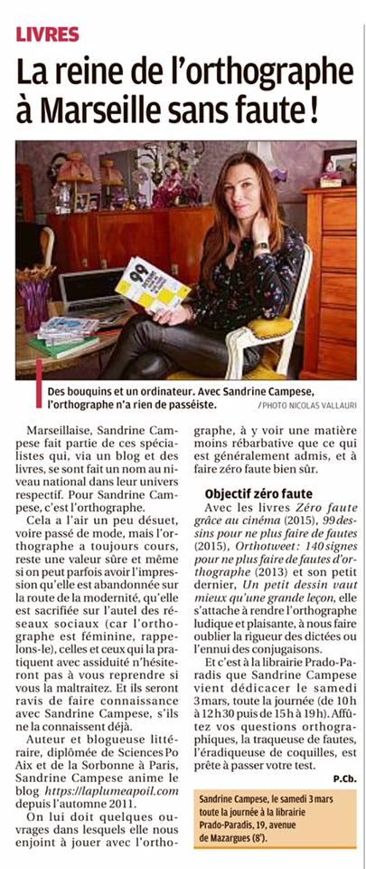 Journal La Provence Sandrine Campese 2018